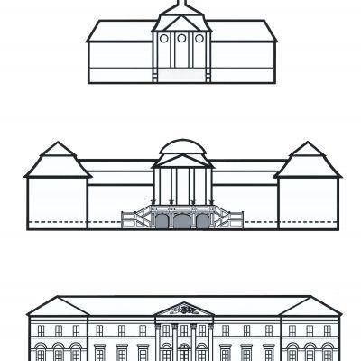 Tri podoby kaštieľa. Stavebné etapy podľa kresby Jany Šulcovej , ktoré uverejnila v štúdii Tri kapitoly zo stavebných dejín kaštieľa v Dolnej Krupej.
